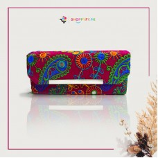 Maroon Hand Embroidered Wallet for Women