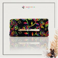 Black Hand Embroidered Wallet for Women