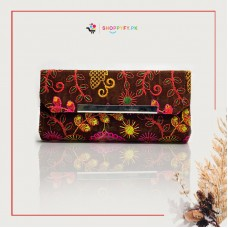 Brown Hand Embroidered Wallet for Women