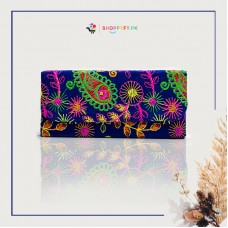 Purple Hand Embroidered Wallet for Women