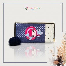 Navy Blue Kitty Hand Wallet for Girls