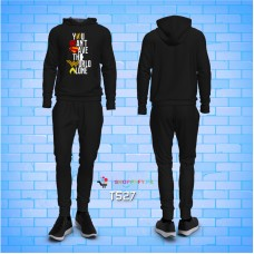You Cant Save The World Alone Black Winter Tracksuit For Men