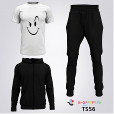 Black Winter Tracksuit With Smile Face T-Shirt For Men