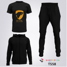 Black Winter Tracksuit With Starck T-Shirt For Men