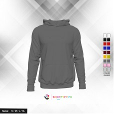 Classic Plain Charcoal Grey Pullover Hoodie